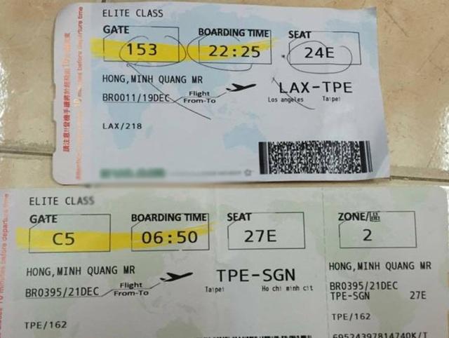 Thông tin vé máy bay được Minh Béo đăng tải khi đã về Việt Nam