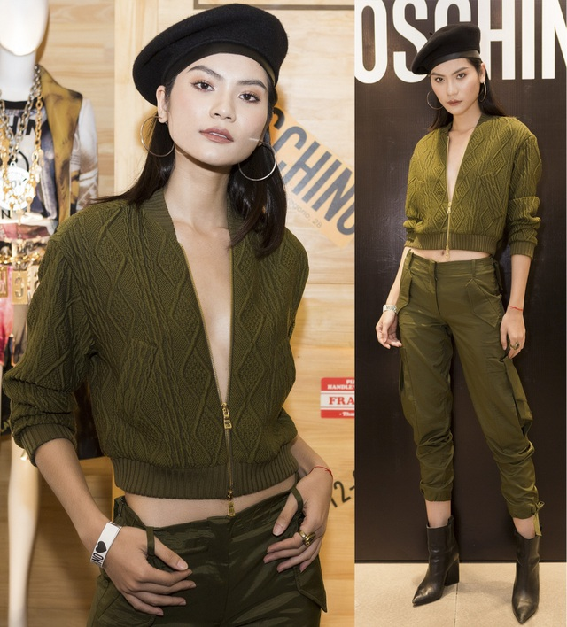 Kim Dung cá tính với mốt không nội y. Quán quân Vietnam's next top model 2017 kết hợp croptop len với quần túi hộp hầm hố, khoe khéo thân hình mảnh mai và vòng eo con kiến.