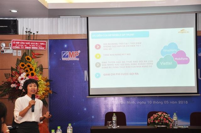 Bà Đoàn Thu Trang – Giám đốc Kinh doanh Công ty Minh Phúc chia sẻ về giải pháp MP Mobile Sip Trunk