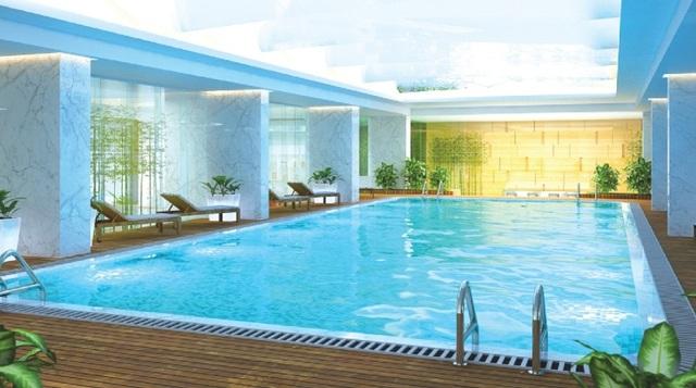 Phối cảnh bể bơi bốn mùa công nghệ Đức ngay tại tầng 2 của dự án