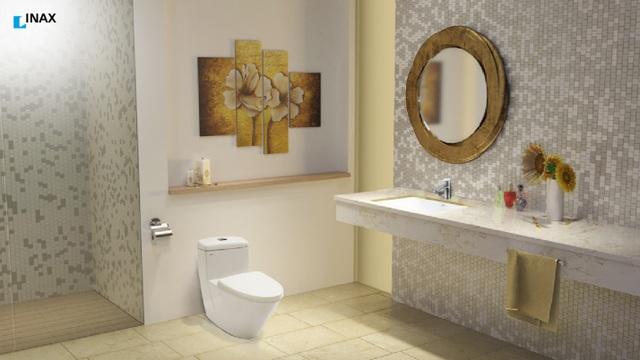 Phòng tắm áp dụng các công nghệ mới giúp việc lau chùi trở nên dễ dàng( Ảnh INAX cung cấp)