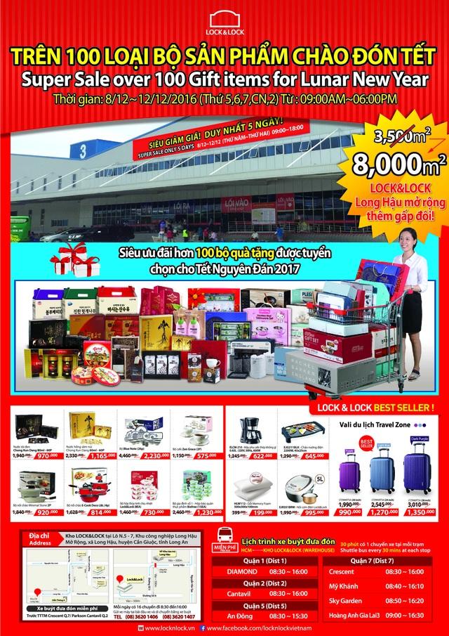 Hàng trăm bộ sản phẩm Lock&Lock với mức giá ưu đãi hấp dẫn tại Kho Long Hậutừ ngày 8-12/12/2016