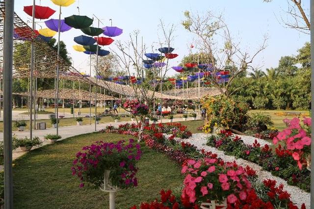 Các nghệ nhân đã thiết kế, sử dụng nghệ thuật tinh tế từ các loài hoa, giàn treo, chậu hoa lớn nhỏ cùng không gian đặc trưng ngày Tết để tạo nên một lễ hội hoa xuân nhiều sắc màu.
