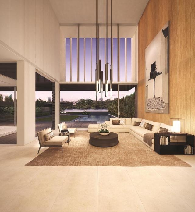 Phòng khách thông trần, không gian thoáng đạt, mở rộng tầm nhìn ra sông