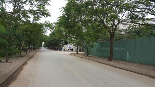 Con đường ngay trước dự án rộng rãi và luôn rợp bóng cây xanh