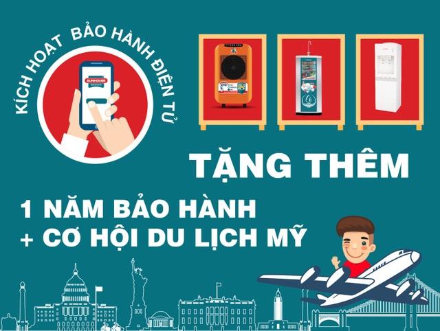 Quý khách hàng được tặng 1 năm bảo hành và cơ hội du lịch Mỹ khi nhắn tin kích hoạt bảo hành điện tử