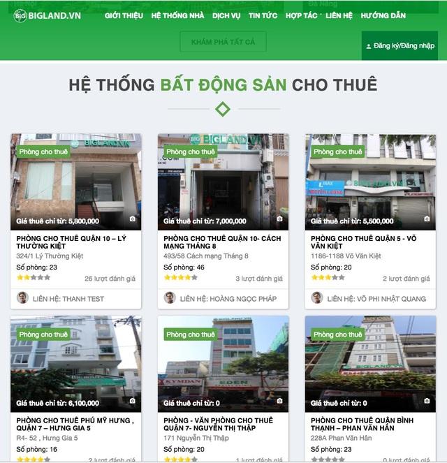 Website cộng đồng kinh doanh nhà cho thuê BigLand.Vn
