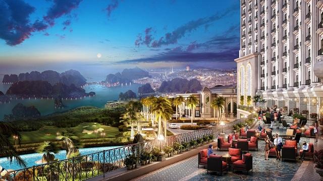 Ngắm toàn cảnh vịnh Hạ Long từ trên cao tại FLC Grand Hotel Hạ Long.