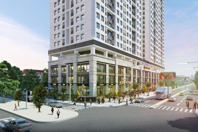 Shophouse thông tầng nằm tại khối đế của tổ hợp sẽ là nơi hình thành phố đi bộ mua sắm sầm uất và hiện đại