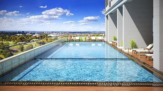Khu bể bơi ngoài trời hiện đại