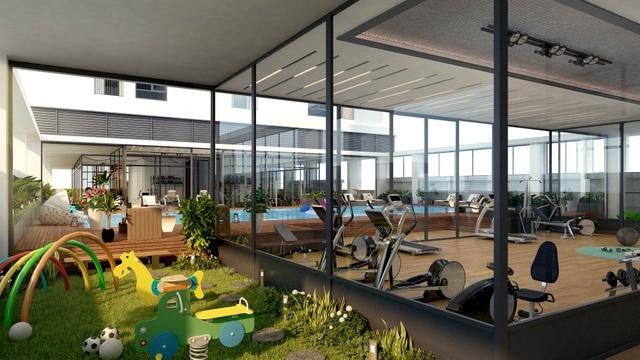 Tầng 4 của dự án tích hợp bể bơi, phòng tập gym, khu vui chơi trẻ em cùng hàng loạt tiện ích cao cấp khác