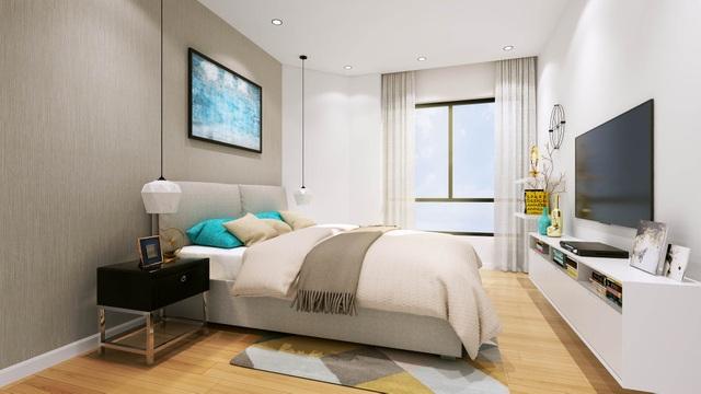 Phòng ngủ hiện đại đón ánh sáng tự nhiên của căn hộ ICID Complex