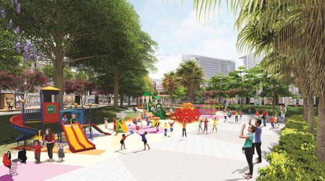 Ngoài vị trí tiềm năng, giá bán hấp dẫn, Mega City còn thu hút khách hàng nhờ có đầy đủ tiện ích. Phối cảnh một góc công viên Mega Park, công trình này sẽ được khởi công vào đầu tháng 8/2017