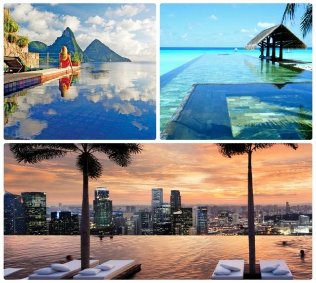 (Từ trái sang, từ trên xuống): Bể vô cực khu nghỉ dưỡng Jade Mountain (Saint Lucia); Bể thiên đường Paradise Pool (Bali, Indonesia) và Bể Skypark, Marina Bay Sands (Singapore).