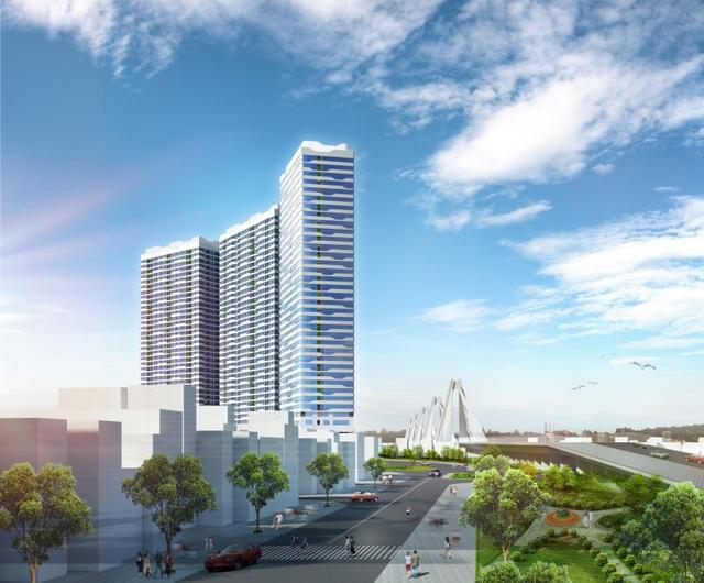 Dự án Intracom Riverside có vị trí ngay chân cầu Nhật Tân