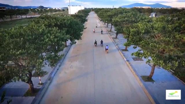 Tuyến đường rợp bóng cây xanh tại dự án Khu đô thị sinh thái Golden Hills