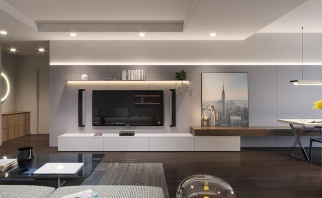 Phối cảnh hiện đại phòng khách căn hộ Mỹ Đình Plaza 2. Dự án được phân phối chính thức bởi Đất Xanh Miền Bắc – 0943 66 9191