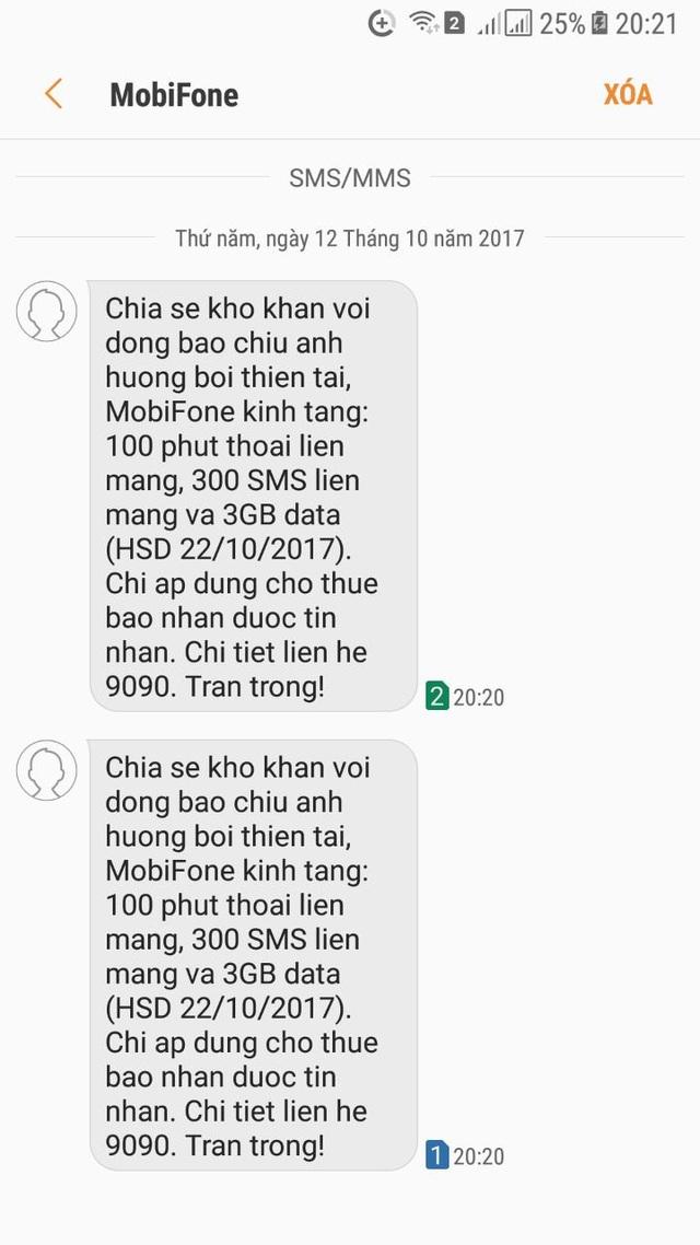 MobiFone đã nhắn tin cho khách hàng thuộc diện được hỗ trợ gói cước