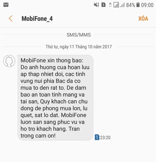 Công ty dịch vụ MobiFone Khu vực 4 nhắn tin cho khách hàng thông báo tình hình thiên tai
