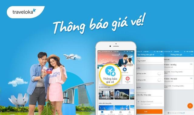 Tính năng thông báo giá vé nằm ngay trên giao diện chính của ứng dụng Traveloka.