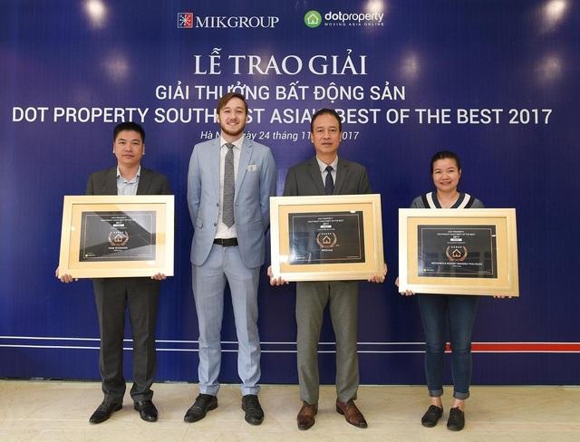 MIKGroup là đơn vị có thành tích cao nhất tại Dot Property Đông Nam Á 2017 với cú hat-trick ở cả 3 hạng mục quan trọng