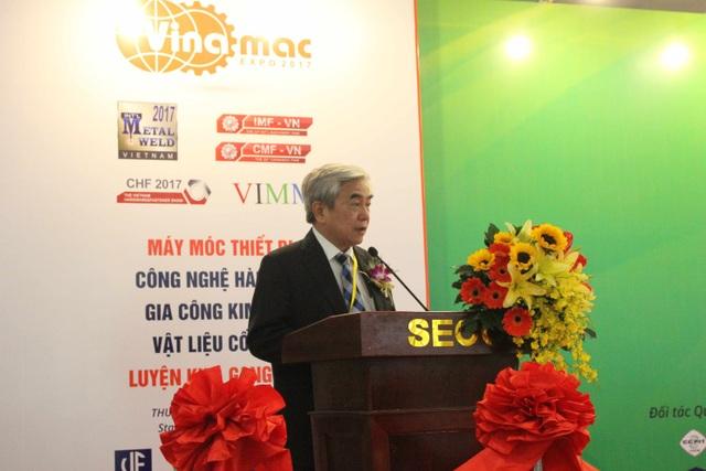 TS. Nguyễn Quân - Chủ tịch Hội Tự động hóa Việt Nam phát biểu tại Triển lãm