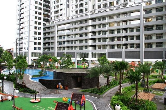 Khu landscape nổi bật với bể bơi ngoài trời nằm trong vườn cây xanh.
