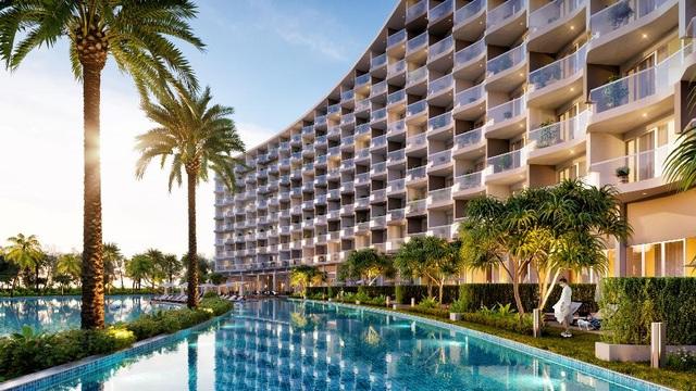 Hệ thống căn hộ nghỉ dưỡng được thiết kế theo hình vòng cung với tầm nhìn rộng mở, ôm trọn mặt hồ và đại dương