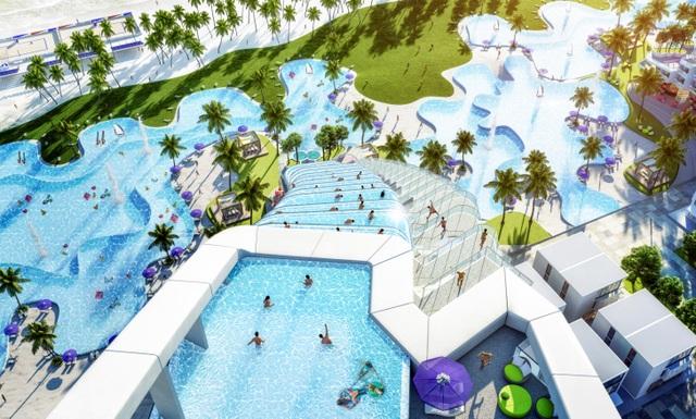 Bể bơi giật cấp 3 tầng tại The Arena sở hữu tầm nhìn hướng thẳng đại dương