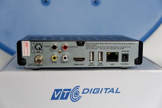 Phía sau Bộ thu HDV2 với nhiều cổng kết nối đa ứng dụng