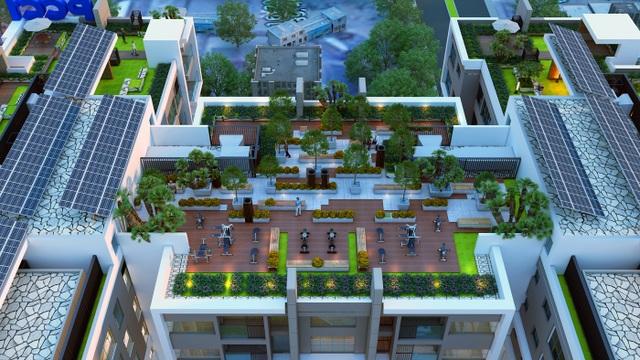 Hệ thống sân vườn tràn ngập sắc xanh trên mái tòa nhà