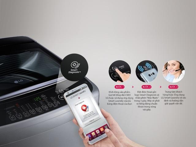 LG Smart Inverter hấp dẫn chị em với chức năng chẩn đoán thông minh vốn chỉ có ở các dòng máy cao cấp giúp xử lý nhanh các sự cố của máy giặt