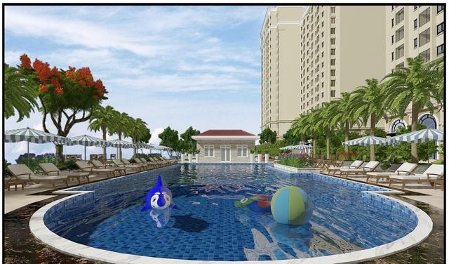Bể bơi ngoài trời của Dự Án chung cư Ruby City CT3