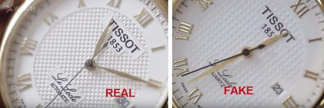 Mặt số đồng hồ giả (phải) bị mờ và nhìn dại hơn ở đồng hồ chính hãng (trái)