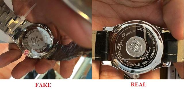 Sự khác biệt của các kí hiệu khắc dưới đáy đồng hồ Thật và Giả