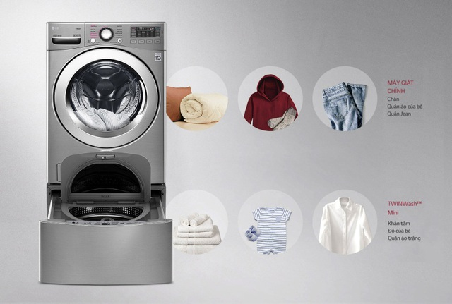 Hai lồng giặt riêng biệt hoạt động cùng lúc giúp các bà nội trợ tiết kiệm gấp đôi thời gian giặt giũ mà quần áo lại được chăm sóc một cách chuyên biệt