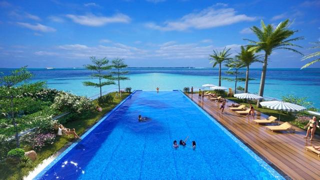 Bể bơi vô cực ấn tượng tại Flamingo Cát Bà Beach Resort