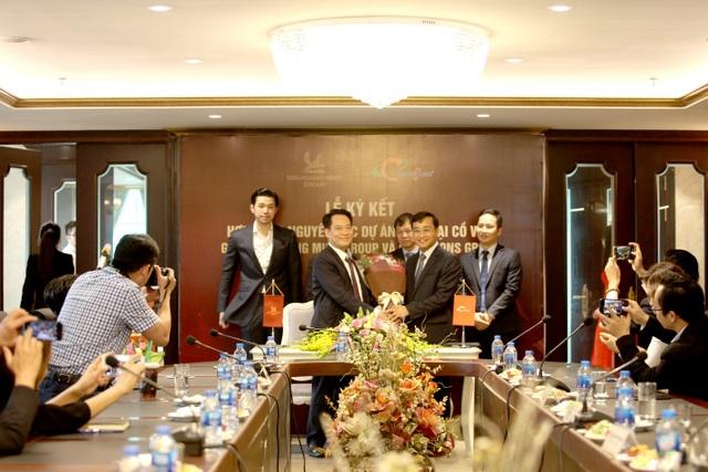 Lãnh đạo Tập đoàn Tân Hoàng Minh và Coteccons tại buổi lễ ký kết hợp đồng nguyên tắc tổng thầu thiết kế và thi công dự án Nam Đại Cồ Việt