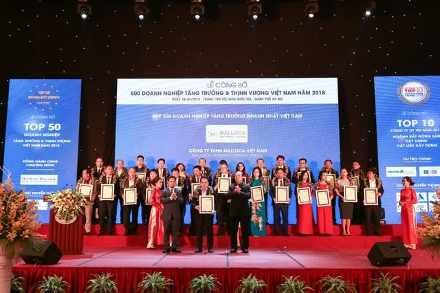 Đại diện Malloca Việt Nam đón nhận giải thưởng FAST 500 năm 2018