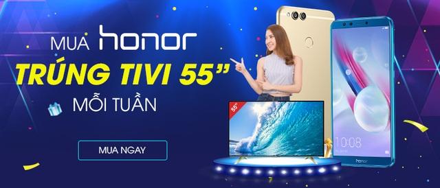 Cơ hội trúng Tivi LCD TCL 55 inch trị giá 10 triệu đồng mỗi tuần khi mua điện thoại Honor