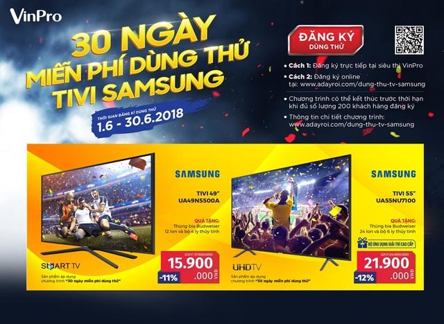 Chỉ với vài thao tác đăng ký đơn giản trên Adayroi, khách hàng có thể được dùng thử miễn phí tivi Samsung đẳng cấp tại VinPro.