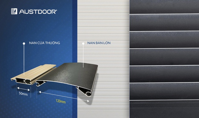 Cửa cuốn nan lớn Austdoor đột phá độ lớn gấp 2,4 lần kích thước nan cửa thông thường