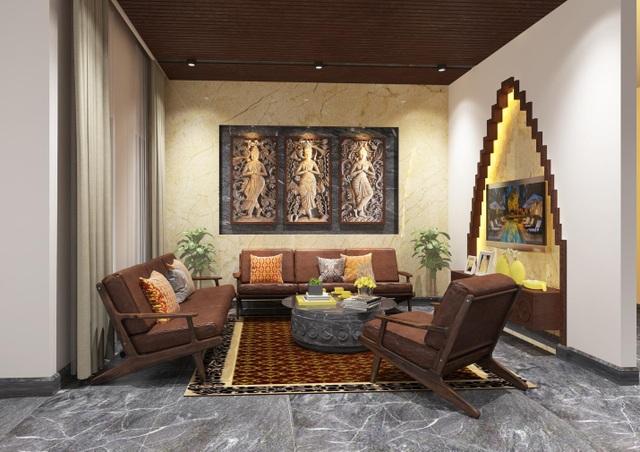 Thiết kế mẫu phòng khách nhà phố thương mại lấy cảm hứng từ văn hóa Chăm Pa cổ.