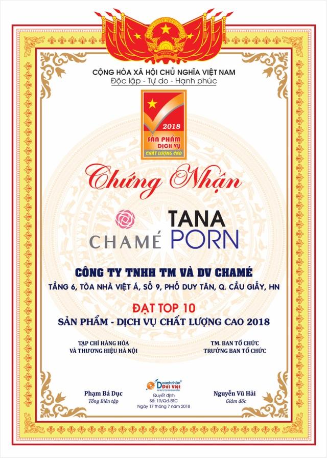 Công ty TNHH TM & DV Chame đã vinh dự đạt danh hiệu Top 10 sản phẩm chất lượng cao năm 2018