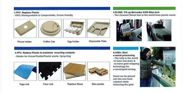 Một số sản phẩm thân thiện môi trường như ly cà phê, vỏ điện thoại, khay đựng trứng,… của Công ty Etouch Innovation Co., LTD.