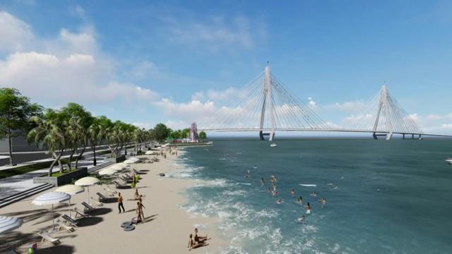Phối cảnh biển nhân tạo và một góc công viên bờ sông tại Khu đô thị sinh thái ven sông King Bay