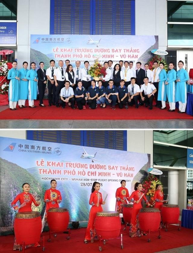 Lễ khai trương đường bay tưng bừng với sự chứng kiến và chúc mừng của các lãnh đạo Cảng hàng không Quốc tế Tân Sơn Nhất và đại diện của China Southern tại TP.HCM