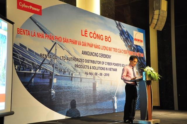 Ông Trần Hải Nam – Phó tổng giám đốc công ty TNHH Benta trong lễ bổ nhiệm Benta là nhà phân phối giải pháp năng lượng mặt trời của Cyber Power tại Việt Nam