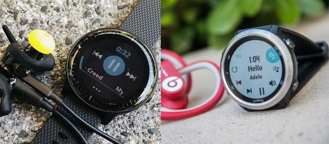 """Forerunner 645 Music (ảnh phải) và vívoactive 3 Music (ảnh trái) cũng là 2 sản phẩm hỗ trợ tính năng phát nhạc nhưng có mức giá """"mềm"""" hơn"""