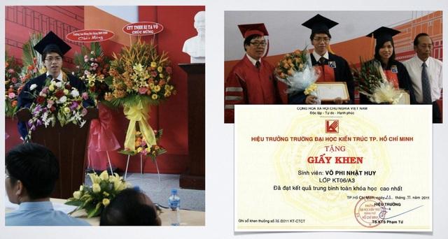 Võ Phi Nhật Huy nhận bằng thủ khoa và đọc diễn văn tại lễ tốt nghiệp Đại Học Kiến Trúc Tp. HCM